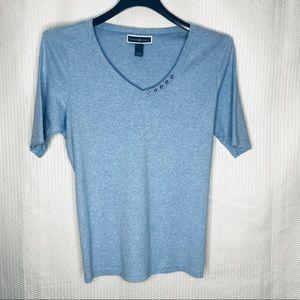 Karen Scott 100% blue V neck top